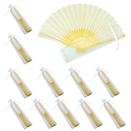 Mcuppe Hand Folding Fans Handheld Silk Bamboo Fans with Gift Bags Wedding Party Favours Home Office DIY Decoration Bridal Dancing Props (12 Pack)