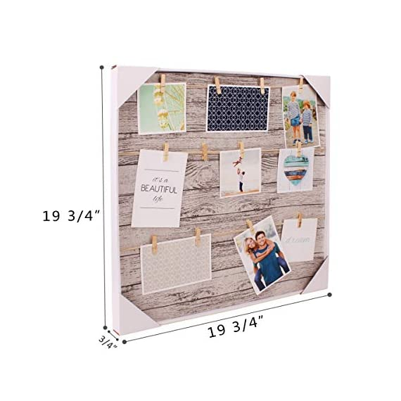 HANTAJANSS Clip Photo Holder, Photo Collage Frame, Large Picture Display Frame with 12 Wood Clothespin Clips for Hanging Home Decoration 20 ×20 inches Grey - 🏠 THE PERFECT MATCHED SIZE: We have learned lots of suggestions from customers to design this clip photo frame with approximately 20 ×20 inches size. 🏠 EXCELLENT FRAME MATTING: Considering many aspects, This unique mat design gives the ability for the photo to stand out and be easily shown without creating an aggressive environment! 🏠 EASY TO INSTALL - This clip photo holder goes with a metal pre-drilled holes on the back, It can be mounted on walls. No need for adhesive or special equipment! It is great as wall decor for living room, bedroom, gallery, office, and wedding anniversary. - picture-frames, bedroom-decor, bedroom - 51tLFlefvPL. SS570  -
