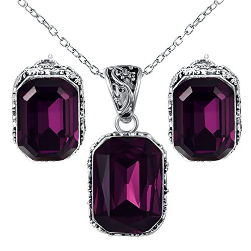 - Yoursfs Purple CZ Crystal Earrings and Necklace for Women Simulated Amethyst Party Costume Jewelry Set