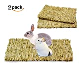 Uligota Natural Woven Seagrass Mat For Rabbit Bunny Hamster Small Animal Cage,Chew Toy Bed for Guinea Pig Parrot-2 Pack Big Size