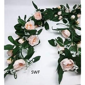 6' Pearl Rose Garland Silk Wedding Bridal Flowers 27