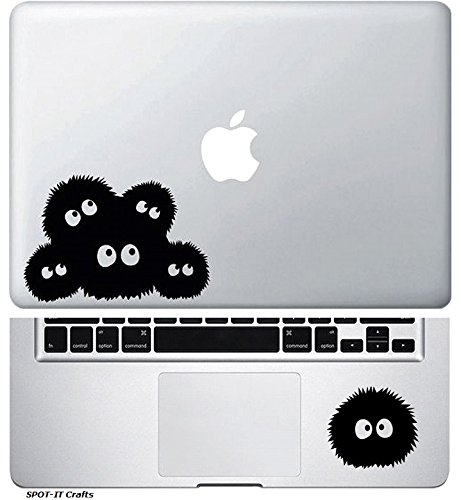 SPOT-IT Crafts SOOT SPRITES SPIRITED AWAY DUST BUNNIES 2 IN 1 COVER + TRACKPAD / PALM REST / KEYPAD VINYL DECAL STICKER FOR MACBOOK / LAPTOP / NOTEBOOK