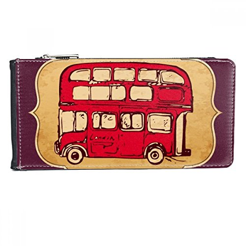 UK London Red Double-decker Bus Stamp Multi-Card Faux Leather Rectangle Wallet Card Purse Gift