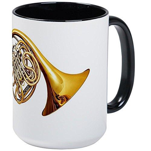 Shiny Black White Horn - CafePress - Shiny Brass French Horn Large Mug - Coffee Mug, Large 15 oz. White Coffee Cup