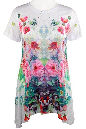 Floral Sublimation Print Top - Cactus Fashion - Floral Array, Short Sleeve, Sublimation Print Rhinestone Top