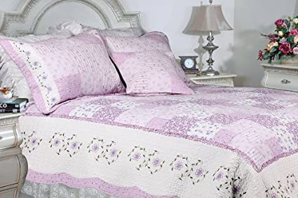 [Love of Lilac] 100% Cotton 3PC Floral Vermicelli-Quilted Embroidered Patchwork Quilt Set (Full/Queen Size) Blancho Bedding