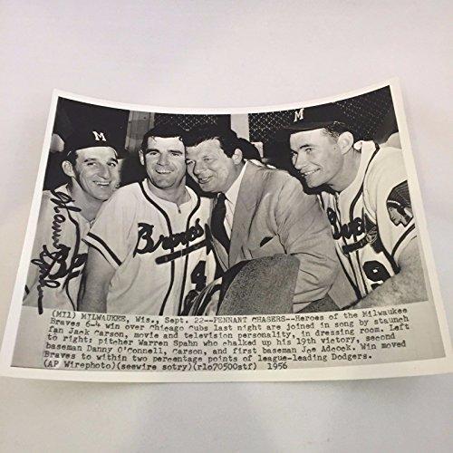 1956 Warren Spahn Signed Autographed Press Wire Photo PSA DNA COA (Photograph Spahn)