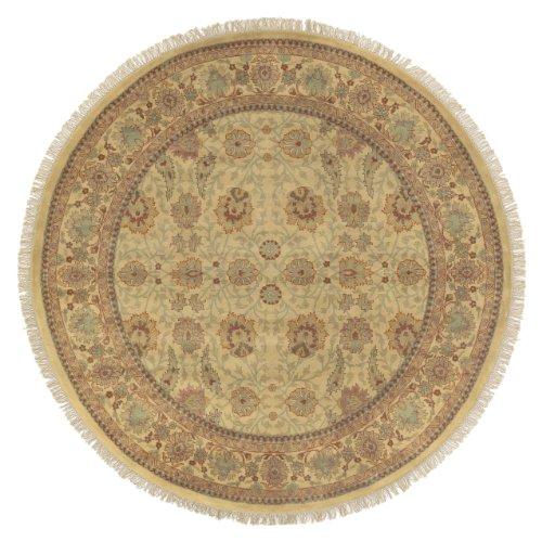 Surya Taj Mahal TJ-826 Traditional Hand Knotted 100% Semi-Worsted New Zealand Wool Gold 8' Round Area Rug - Taj Mahal Olive Rug