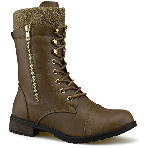 Cuff up Low Heel Ankle Military Toe Round Combat Knitted Premier Lace M Taupe Standard Boots qwAgX8