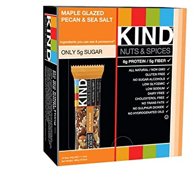 Kind Nuts & Spices Bars Maple Glazed Pecan & Sea Salt -- 12 Bars