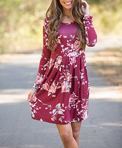 Swing Red Wine Long T Dress Pleated shirt Casual Dress Sleeve Amstt Tunic Printed Floral Women s Skater 0qxFwf