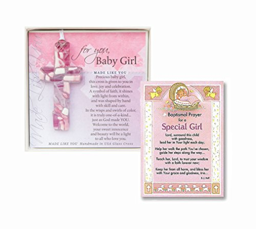 Christening Gifts For Girls Gift Set Handmade in the USA Glass Cross for Baby Girls an a Baptism Prayer Card Baptism Gifts for Girls from Godmother