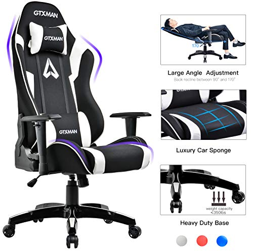 GTXMAN Gaming Chair Racing Style Office Chair Video Game Chair Breathable Mesh Chair Ergonomic Heavy Duty 350lbs Esports Chair White