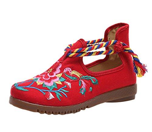 Insun Damen Espadrilles Slipper Blume Stickerei Flats Schuhe Mary Jane  Schuhe Rot