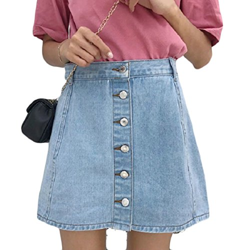 XQS Women's Fake Two Pieces Denim Skirt and Shorts Frayed Hem Jeans Skirts with Back Patch Pockets 1 L
