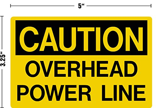 CAUTION Overhead Power Line Decal Sticker Placard 3.25