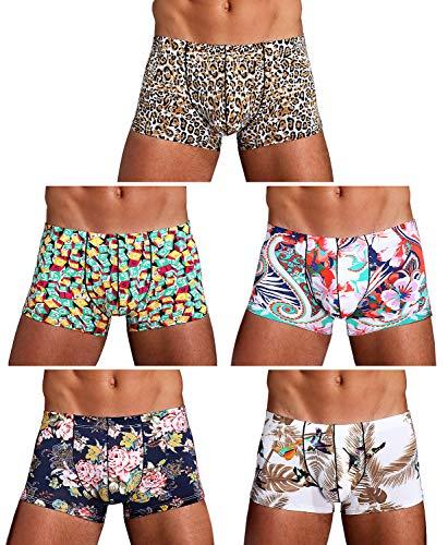 Arjen Kroos Men's Low Rise Printed Boxer Briefs Trunks Underwear (X-Large/33.8-37.4 inch, Multicolor(5-Pack)-1)
