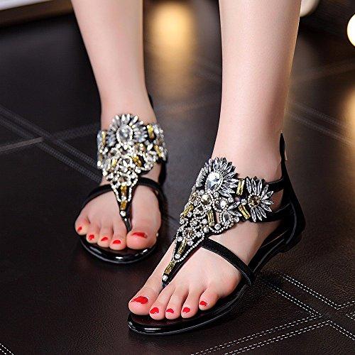 UE 34 Sandalias Verano Fondo Antideslizantes Zapatos señoras de Lujo Ocasionales Playa YMFIE Primavera Cuero Plano y Rhinestone de cómodas de EU de 34 FwEPHRqE