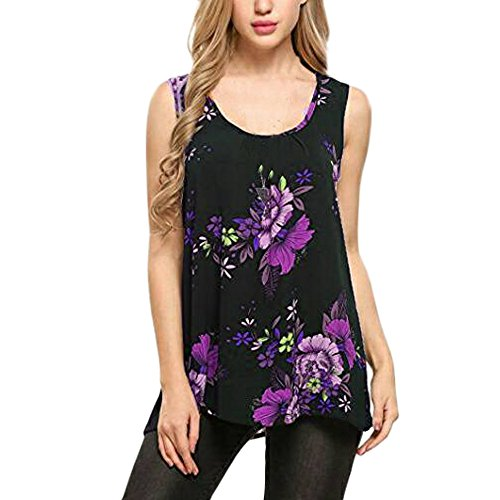 OrchidAmor Women O-Neck Sleeveless Printing Plus Size Vest Tops Loose T-Shirt Blouse Purple