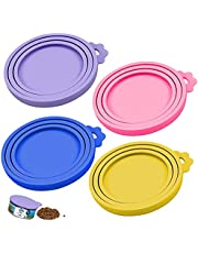 Dokpav 4Pcs Pet Food Can Cover, Silicone Tin Can Lids, Coloured Universal Silicone Can Lids for Dogs and Cats (Purple, Pink, Blue, Yellow)