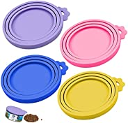 Dokpav 4Pcs Pet Food Can Cover, Silicone Tin Can Lids, Coloured Universal Silicone Can Lids for Dogs and Cats