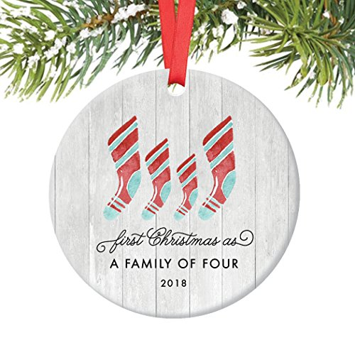 Christmas Family Ornaments (First Christmas As Family of Four Ornament 2018, Farmhouse Woodsy Two Kids New Parents Xmas Present Mom Dad Mother Father Ceramic Porcelain Keepsake 3