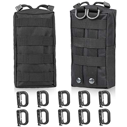 Gohiking Molle Pouch 2 Pack Tactical Compact EDC Utility Gadget Waist Bag with 10 Pack Multipurpose D-Ring Grimloc Locking Hook by Gohiking