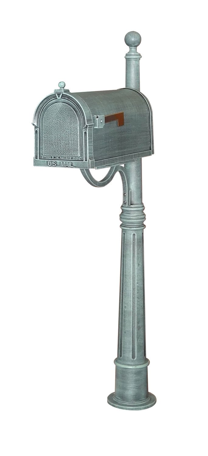 Special Lite Berkshire Curbside Mailbox with Bradford Surface Mount Mailbox Post - Verde Green - 62''H