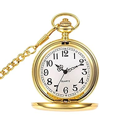 Classic Smooth Full Hunter Pocket Watch with 14 inches Chain