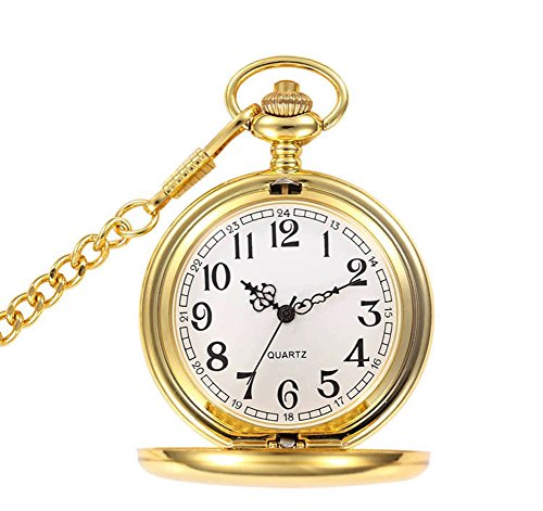 Jechin+Classic+Pocket+Watch+-+Gold%2C+Hunter+Case%2C+14%27%27+Chain%2C+Comes+in+Elegant+Gift+Box