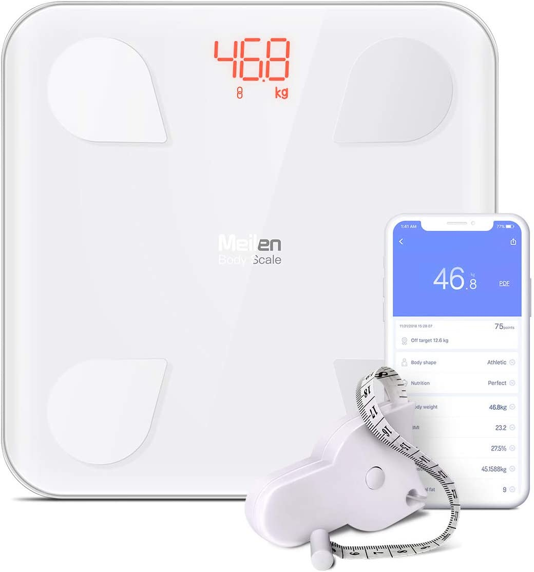 Bluetooth Body Fat Scale – Smart Digital Weight Scale with Free iOS, Android APP, Unlimited Users, Auto Recognition Body Composition Analyzer for Fat, BMI, BMR, Muscle Mass.lbs kg White