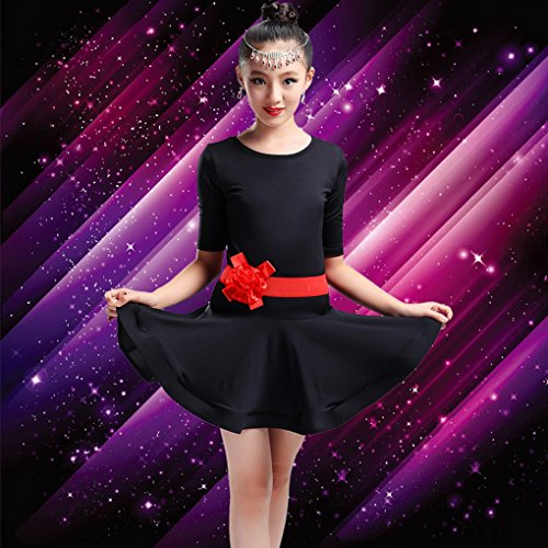Noir Robe Spectacle De Manche Acmede Courte Latine Fille Exercice 4 Fleur Motif Danse Enfant Pour Short Avec 3 Tpndnq
