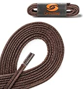 OrthoStep Waxed Very Thin Dress Round Shoelaces 2 Pair Pack - Made in the USA