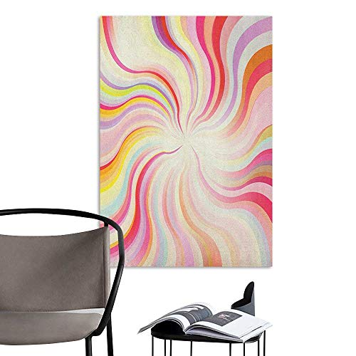Art Decor 3D Wall Mural Wallpaper Stickers Pastel Abstract Sunburst Design Wavy Lines Sixties Seventies Style Psychedelic Retro Rays Multicolor Stair Elevator Side W20 x H28 (Sunburst Bamboo Mirror)