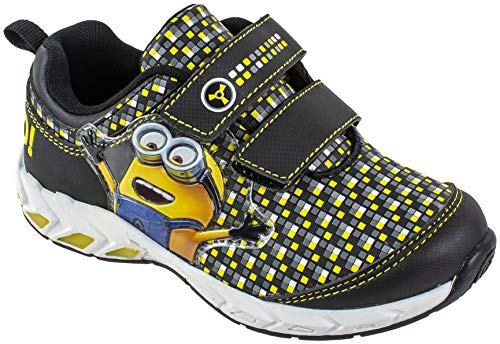 Despicable Me Boys Minion Two-Strap Kid's Sneaker Athletic Shoe, Black, Size 9 Child US Toddler -