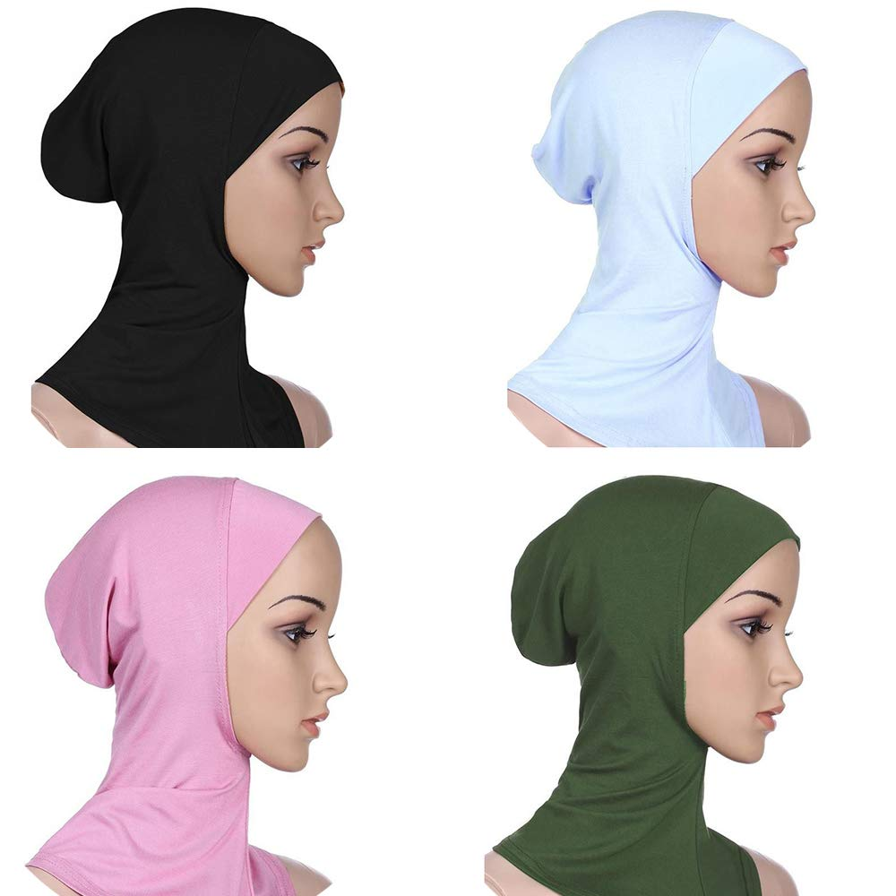 4 Pieces Full Cover Muslim Hijab Caps Women Full Cover Hijab Bonnet Islamic Head Scarves Comfortable (4)