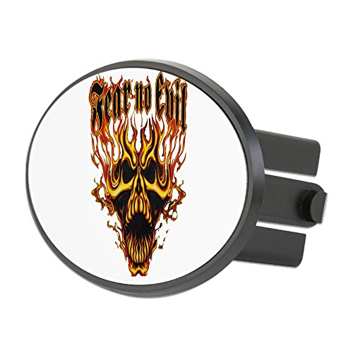 Oval Hitch Cover Fear No Evil Flaming Skull