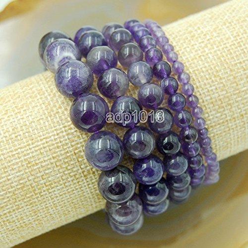 Wholesale Natural Gemstone Beads Stretch Bracelet Healing Reiki 4,6,8,10,12mm (4mm, Amethyst)