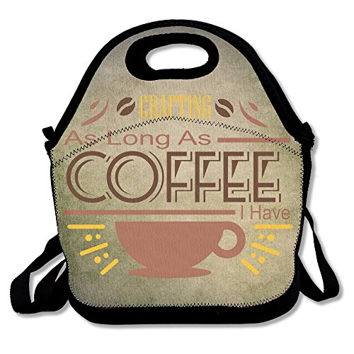 Hailin Tattoo Simple Coffee & Crafting Shirt Polyester Lunch Bag Large 11.4' X 7.5' X 5.7' Gourmet Insulating Lunch Tote For Girls