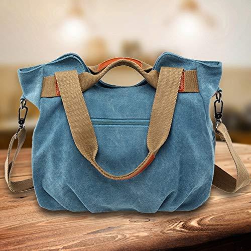 Womens Handbag Canvas Shoulder Bag Top Handle Bags Satchels Beach Tote Bag Cross Body Bags Color : Khaki
