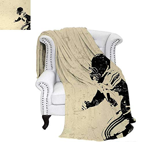Velvet Plush Throw Blanket Rugby Player in Action Running Success in Arena Playground Sport Best Team Picture Throw Blanket 70
