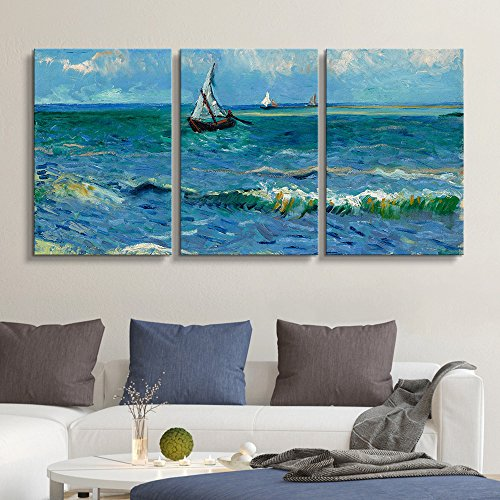 3 Panel Seascape Near Les Saintes Maries de la Mer by Vincent Van Gogh x 3 Panels