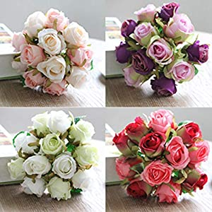 Artificial & Dried Flowers - 12pcs Lots Artificial Rose Flowers Wedding Bouquet Thai Royal Silk Home Decoration Party Decor - Flowers Artificial Dried 56