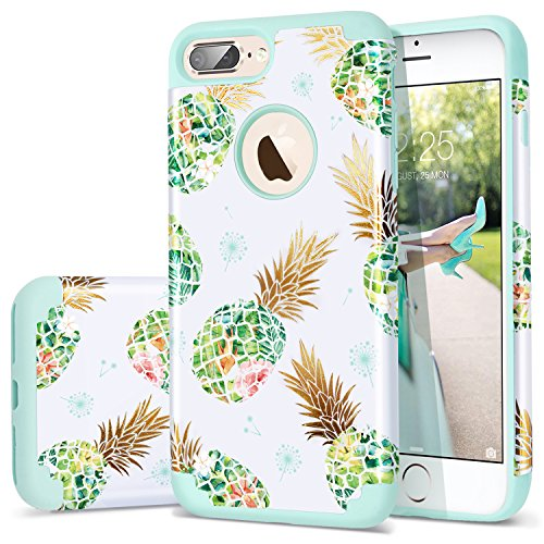 Fingic Pineapple Case for iPhone 7 Plus,iPhone 8 Plus Case,Shiny Pineapple&Fresh Green Silicone Design Summer Case 2 in1 Hybrid Skin Cover Compatible for iPhone 7 Plus/8 Plus (Green)
