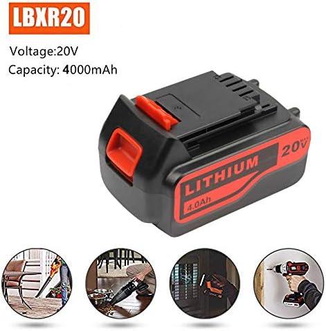 Bater/ía de repuesto de 4000 mAh para Black and Decker 20V Lithium LBXR20 LBXR20-OPE LB20 LBX20 LB2X4020-OPE LST220 Herramienta inal/ámbrica