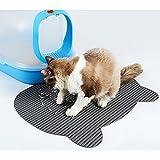 HomeYoo Large Cat Litter Mat, Non-Slip Litter Box Mat, Pet Feeding Mat, Dog Food Bowl Mat Dog Cat Small Animals (Grey)