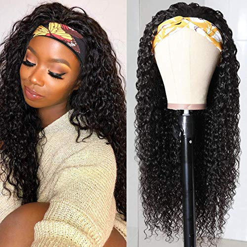 8-40Inch Curly HeadBand Wigs 10A Human Hair Wigs for Black Women Brizilian Virgin Hair None Lace Front Wigs Glueless Natural Color 150% Density 14inch