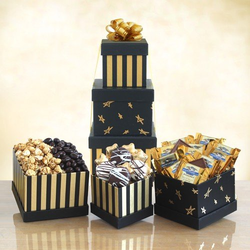 Black & White Affair Gift Tower | Ghirardelli Chocolate, Popcorn and Cookies (Gifts Hampers)