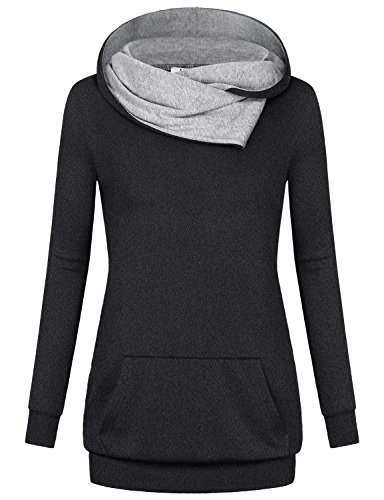 Miusey Hooded Hoodies for Women, Ladies Long Sleeve Pullover Vintage Designer Aesthetic Travel Clothes Gymnastics Breathable Youth Sweatshirts Charcoal Black XL