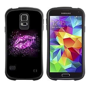 """Hypernova Slim Fit Dual Barniz Protector Caso Case Funda Para Samsung Galaxy S5 [Labios Estrellas del brillo brillante Negro Amor""""]"""